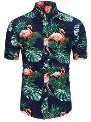 Flamingo Leaf Print Short Sleeves Shirt -