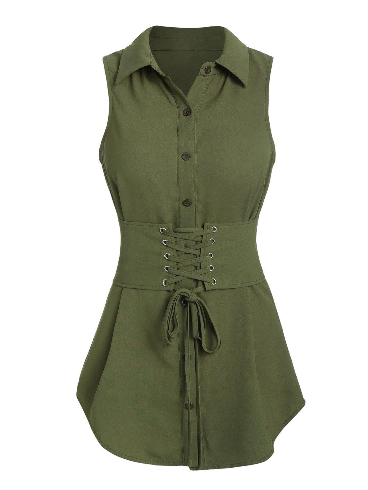 Hot Lace-up Belted Tank Blouse