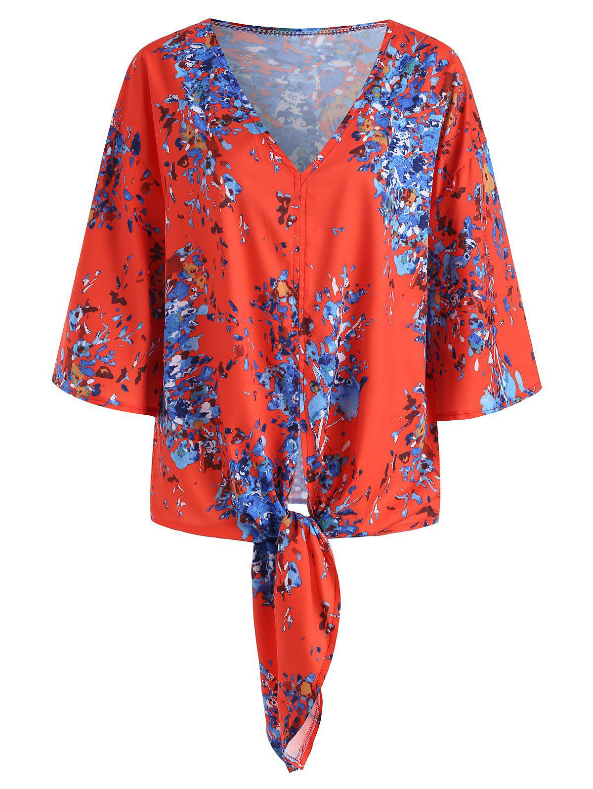 Trendy Tie Hem Printed V Neck Blouse
