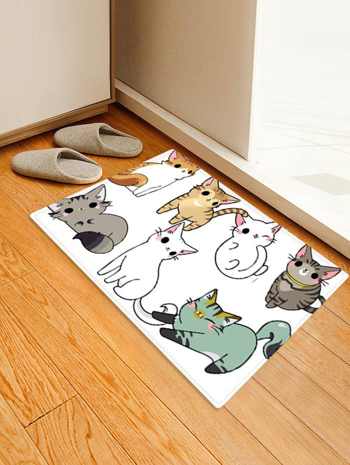 Cartoon Cats Patterned Water Absorption Area Rug