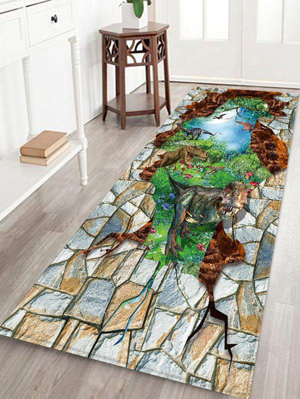 Broken Wall Dinosaur Pattern Water Absorption Flannel Area Rug