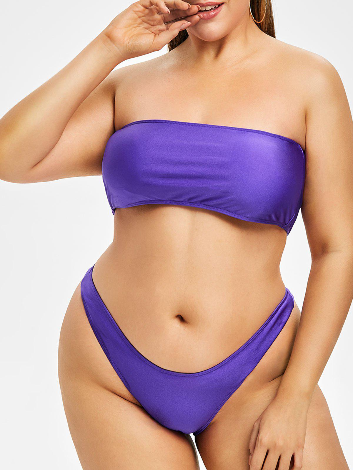 Latest Plus Size Strapless High Cut Bikini Set