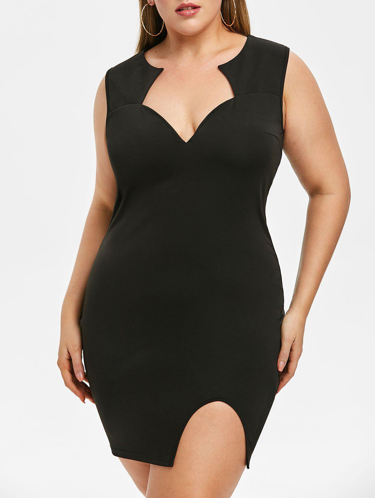 Outfit Rosegal Plus Size Slit Bodycon Dress