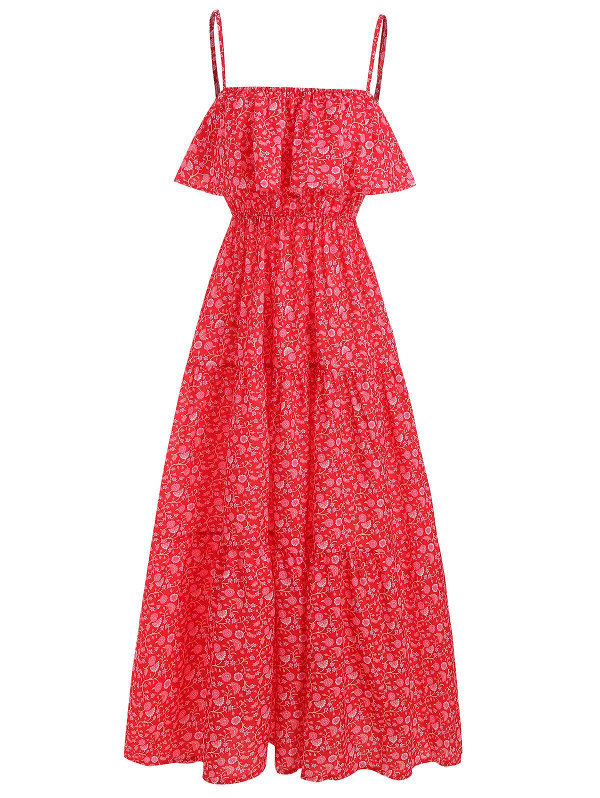 Outfits Floral Print Bohemian Overlay Maxi Dress