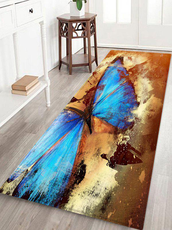 Retro Butterfly Pattern Water Absorption Area Rug