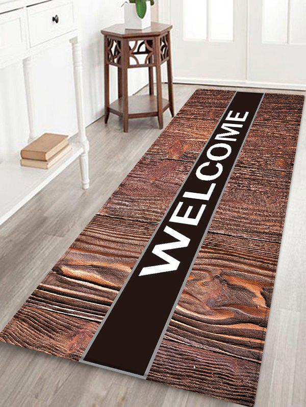 Store Wood Grain WELCOME Pattern Water Absorption Flannel Area Rug