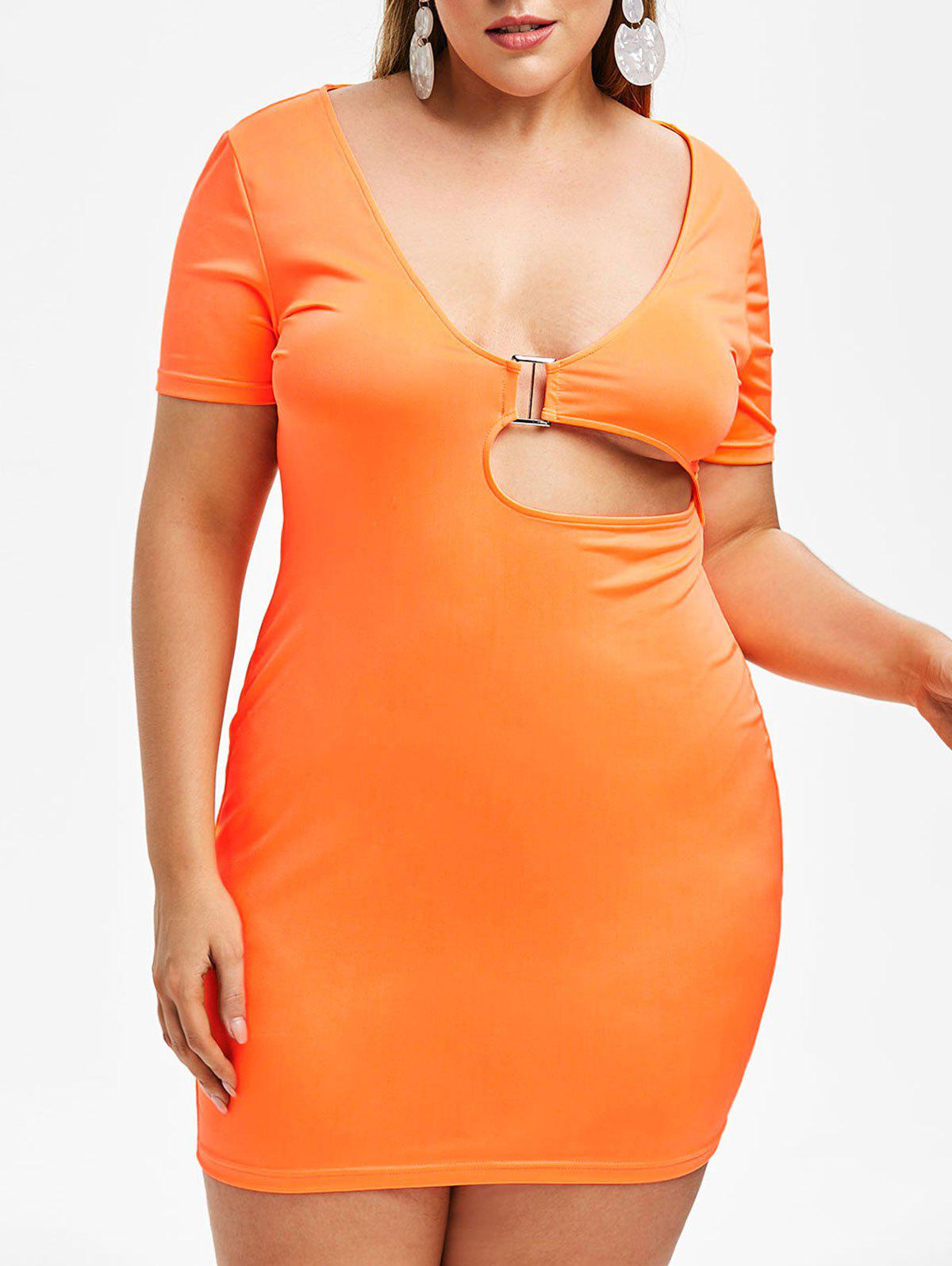 Buy Rosegal Plus Size Plunge Neon Cut Out Fitted Dress