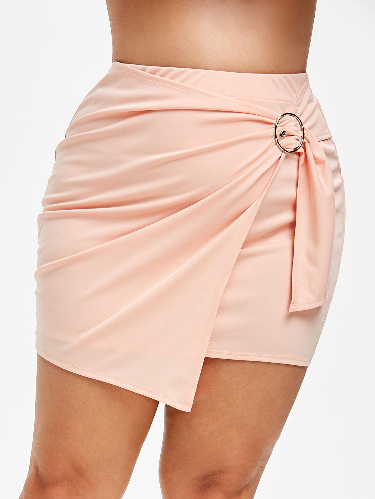 Online Plus Size Faux Wrap Short Tight Skirt