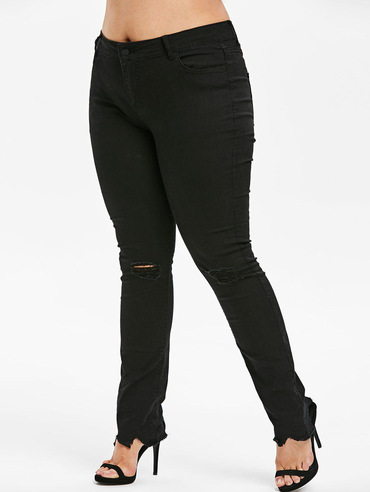 Affordable Plus Size High Rise Ripped Frayed Jeans