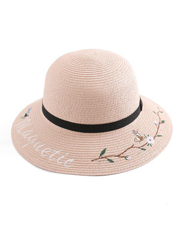 Outfits Flower Letter Embroidery Straw Hat