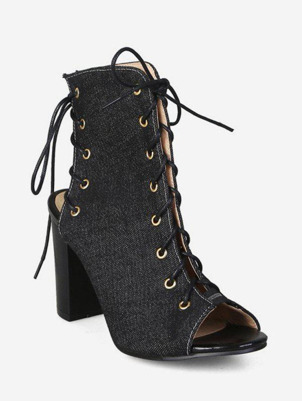 Fashion Peep Toe Lace Up Denim Boots