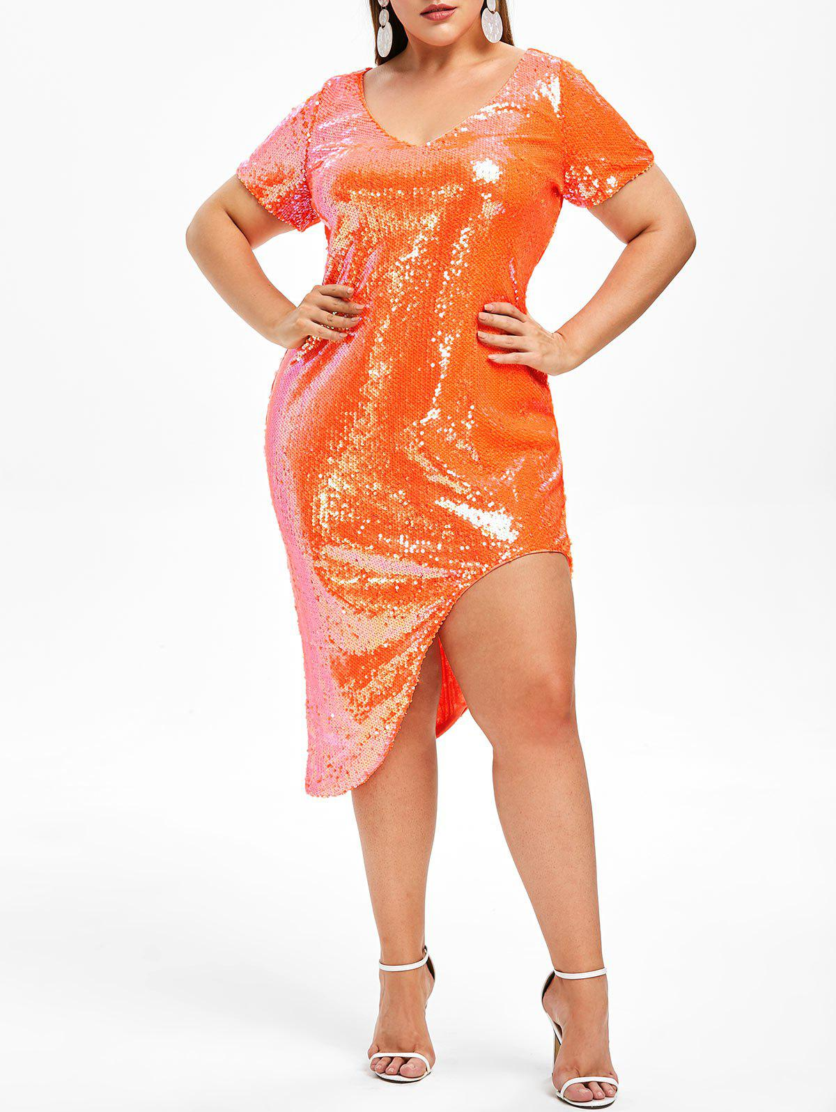 44% OFF] Rosegal Plus Size Sequined Neon Plunge Asymmetric Dress ...