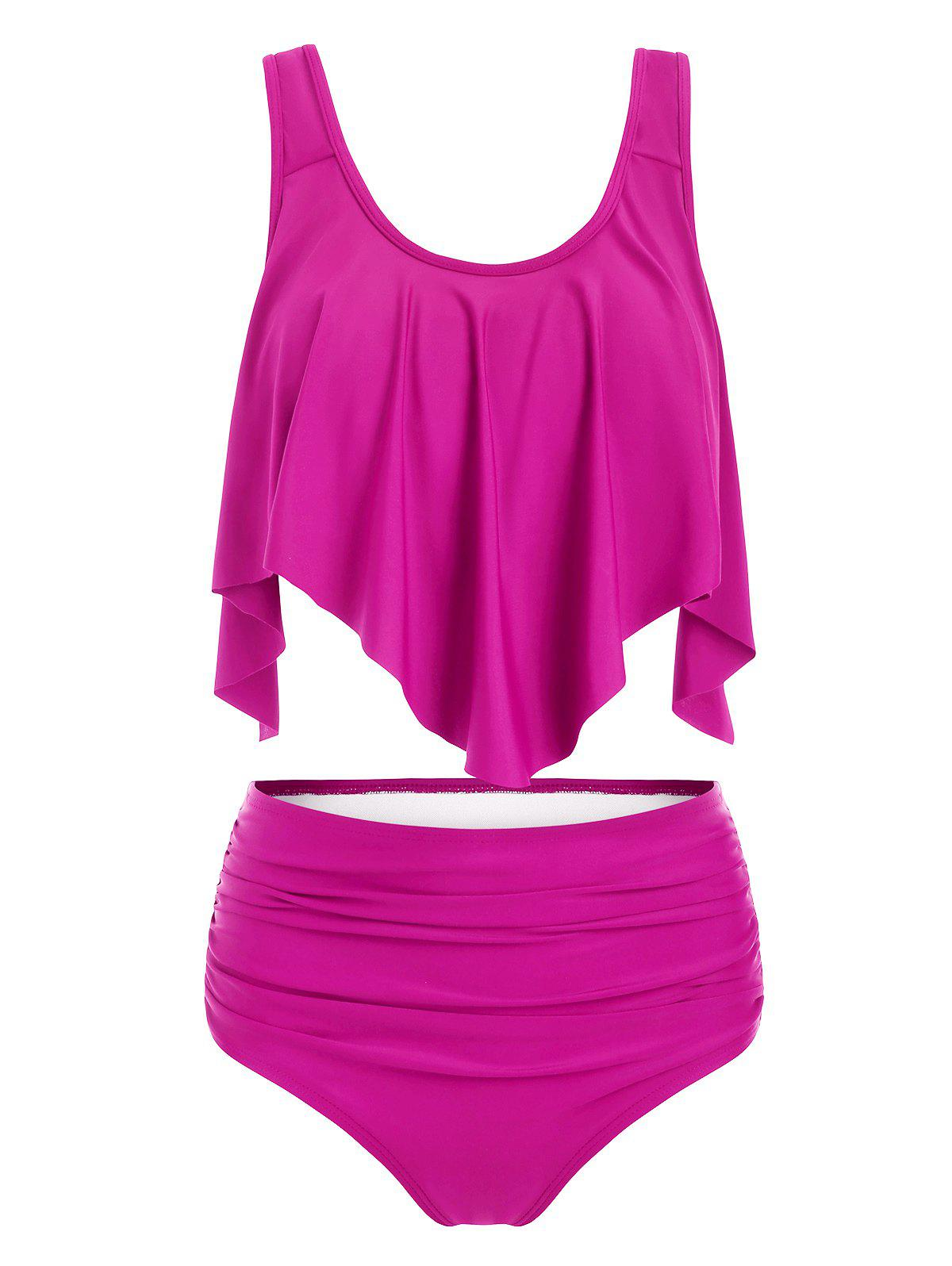 Online Flounces Layered Solid Tankini Set