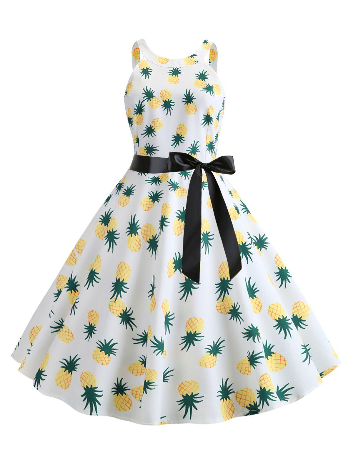 Shop Pineapple Print Sleeveless A Line Dress