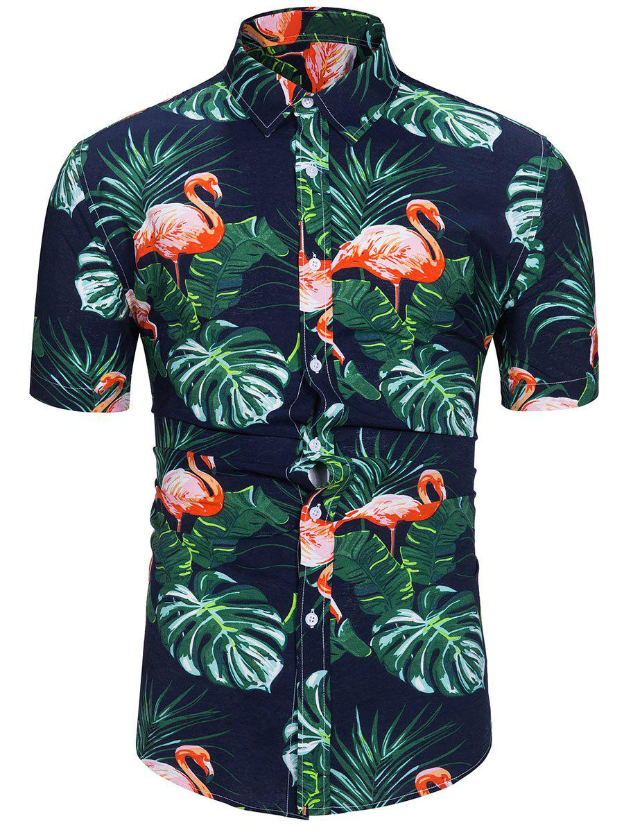 New Flamingo Leaf Print Short Sleeves Shirt