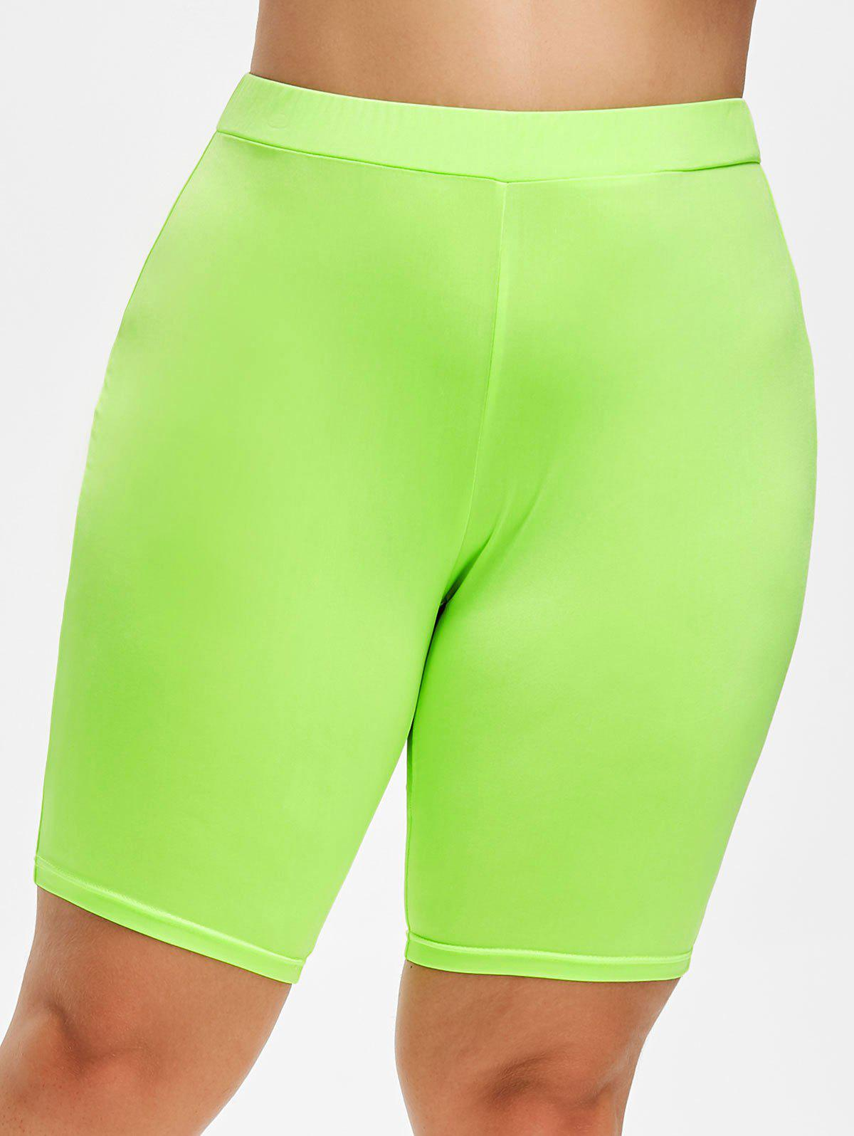 Fancy Rosegal Plus Size High Waist Lime Shorts