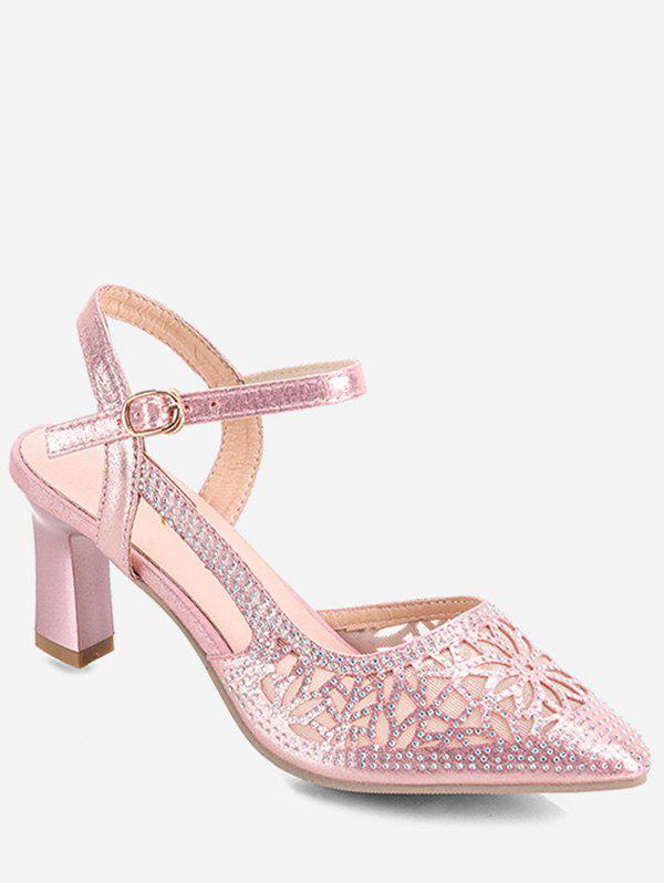 Shops Floral Pattern Pointed Toe Heeled Sandals