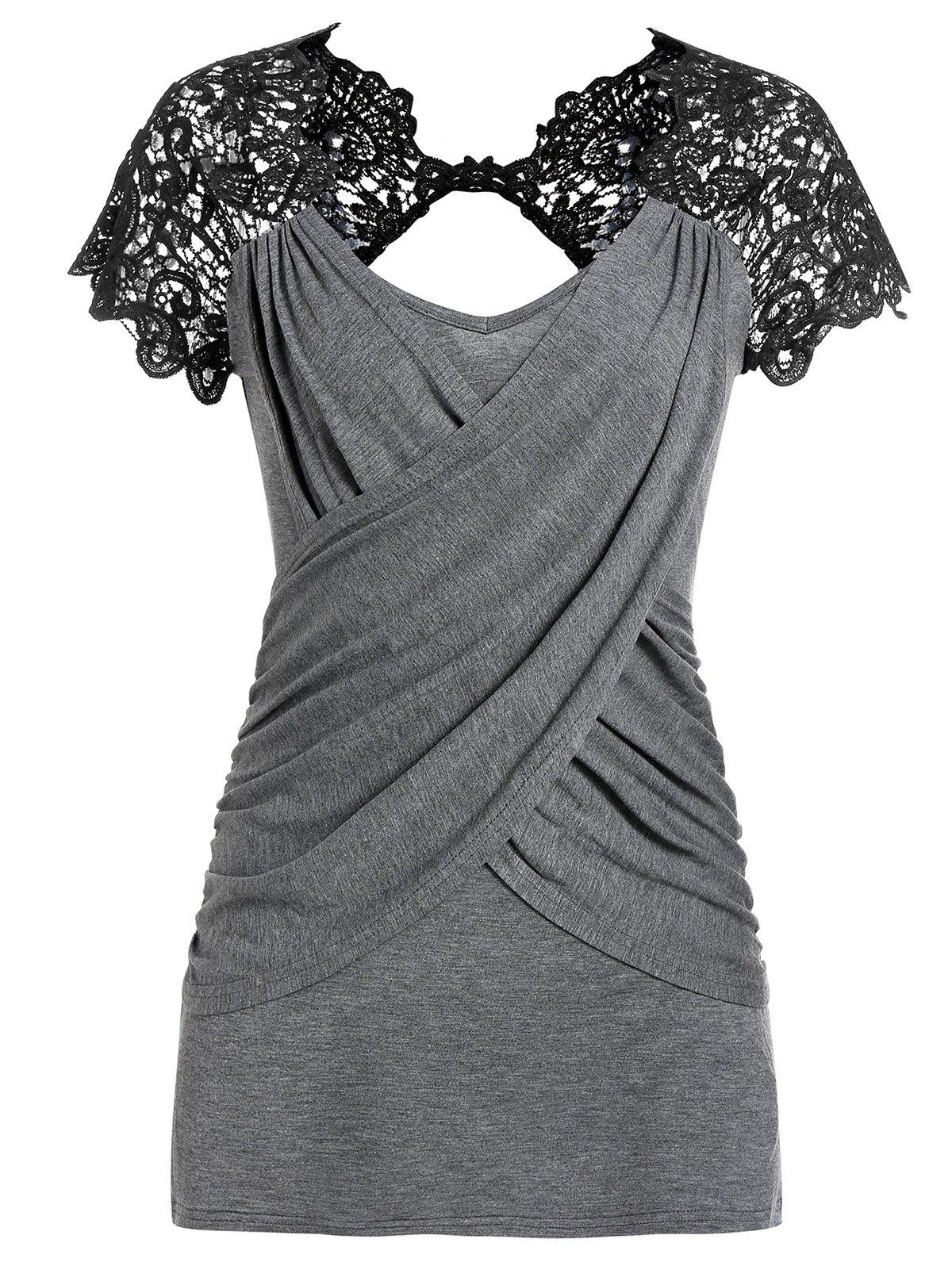 Outfit Lace Panel V Neck Wrap T Shirt