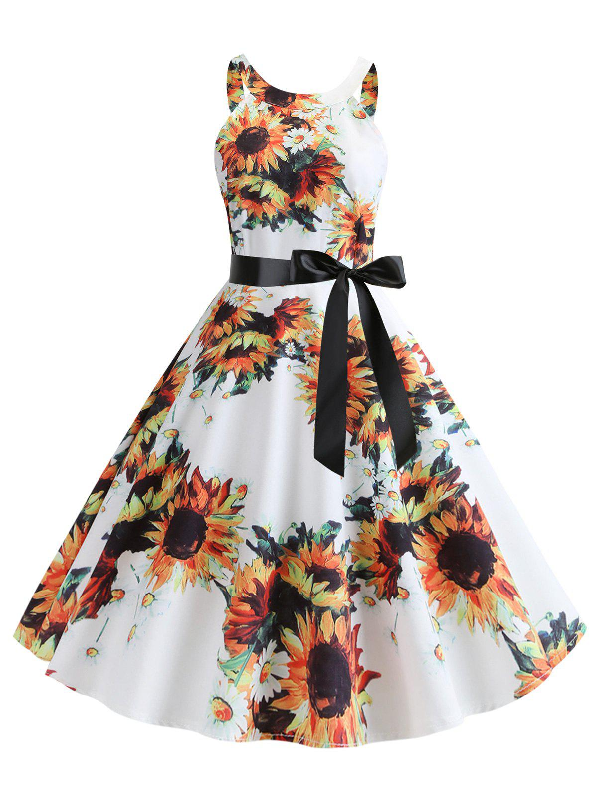 Fancy Sunflower Print Sleeveless Dress