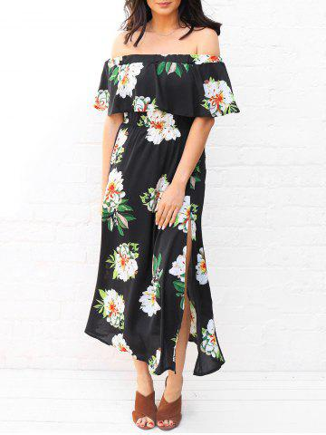 Floral Off Shoulder Flounce Midi Dress