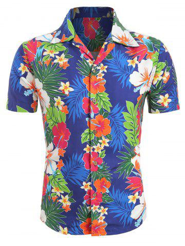 Floral Pattern Button Up Short Sleeves Shirt