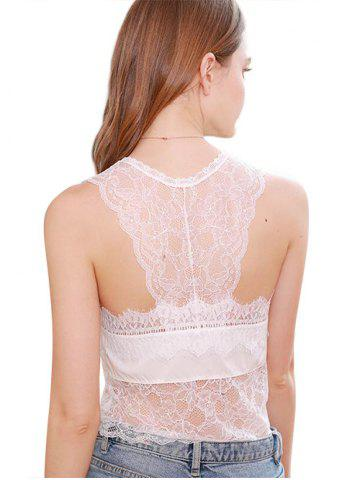 Lace Panel Racerback Lingerie Tank Top
