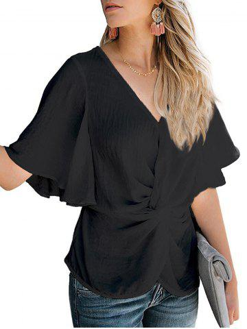 Butterfly Sleeve Twist Front Blouse
