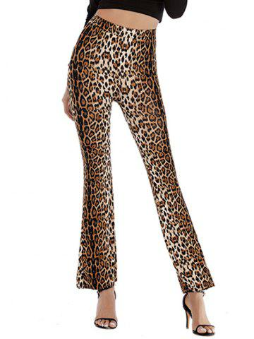 High Waisted Leopard Flare Pants