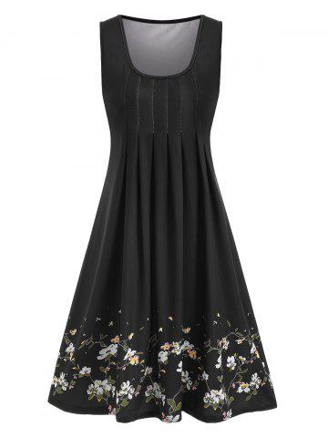 Floral Print Pleated Sleeveless Dress