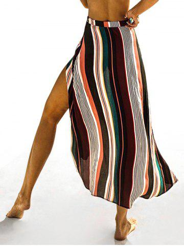 Maxi Striped Slit Casual Skirt
