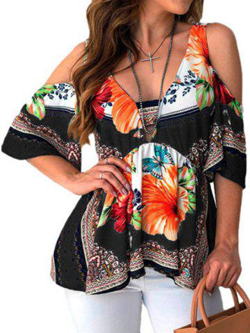 V Neck Floral Print Cold Shoulder Blouse