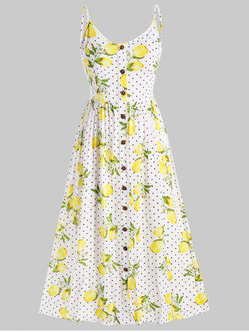 Plus Size Spaghetti Strap Lemon Print Midi Dress