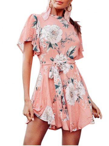 Cut Out Floral Print Belted Flare Dress