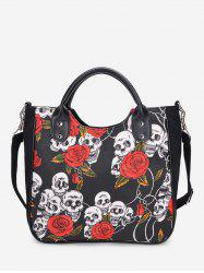 Skull Floral Print Canvas Tote Bag -