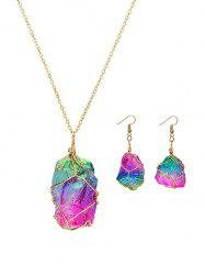 Natural Stone Earrings Necklace Set -