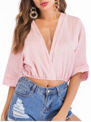 Blouse Simple à Coupe Basse - Rose XL