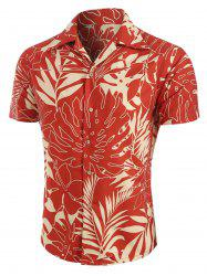 Leaf Print Short Sleeves Shirt -