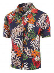 Flower Leaf Pattern Short Sleeves Shirt -
