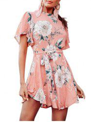 Cut Out Floral Print Belted Flare Dress -