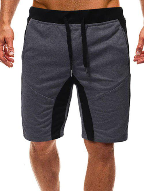 Buy Color Spliced Drawstring Casual Shorts