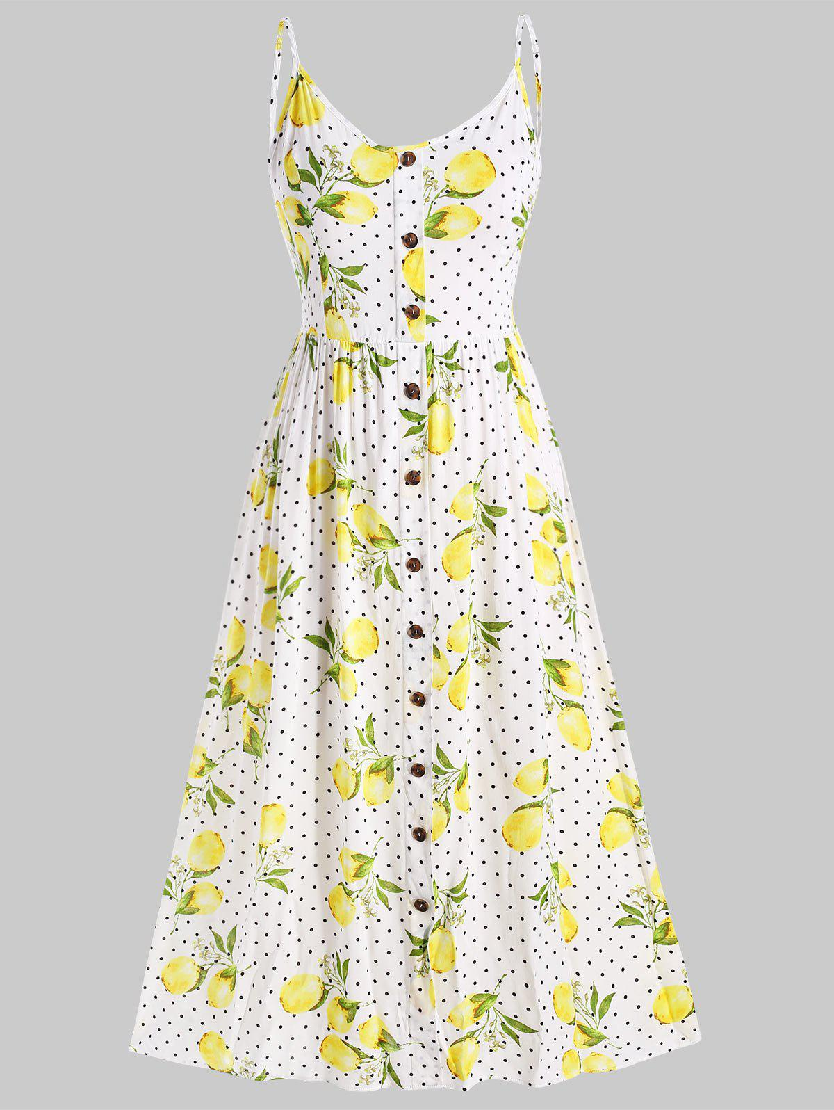 Sale Plus Size Spaghetti Strap Lemon Print Midi Dress