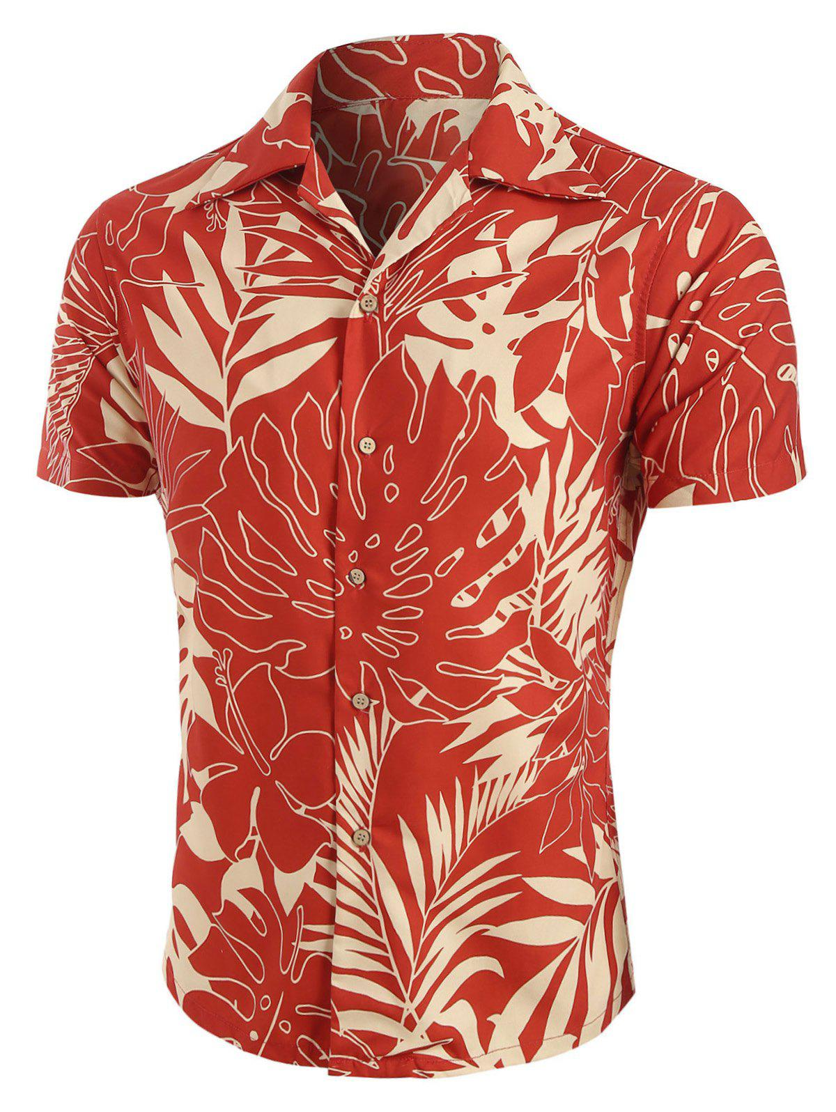 New Leaf Print Short Sleeves Shirt