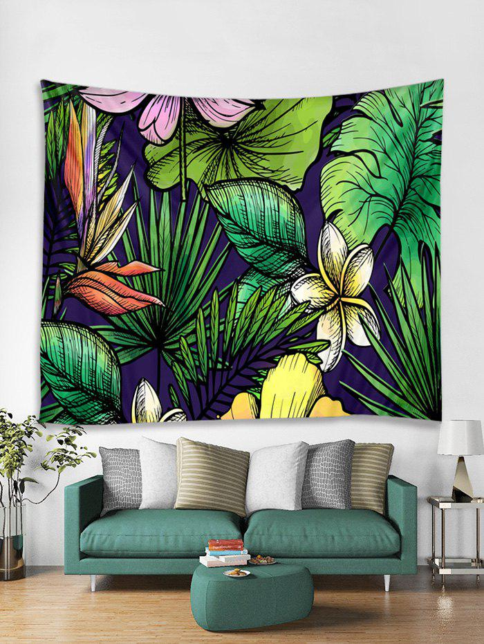Flowers and Leaves Print Tapestry Wall Hanging Art Decoration