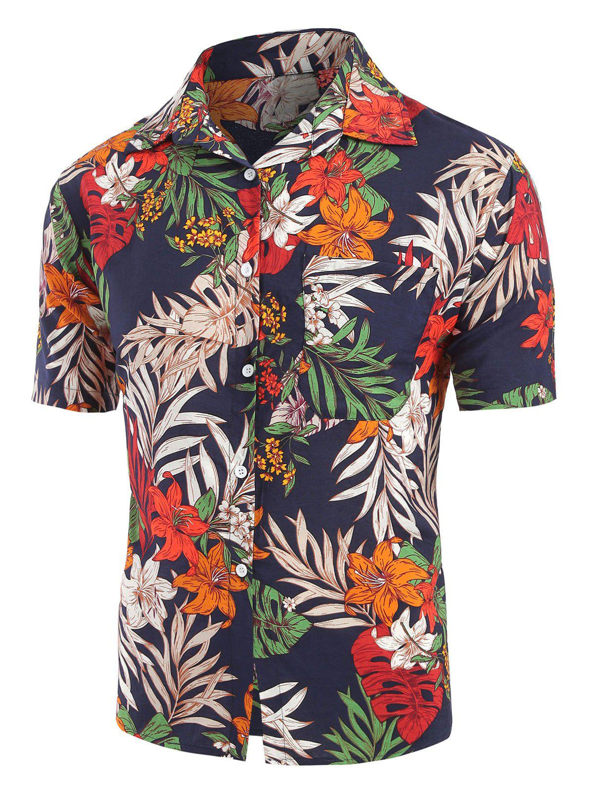 Trendy Flower Leaf Pattern Short Sleeves Shirt