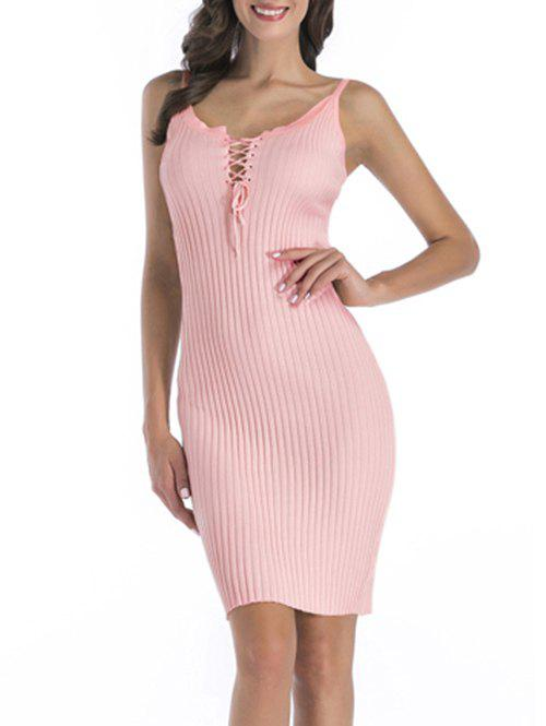 Online Ribbed Knit Lace-up Cami Dress