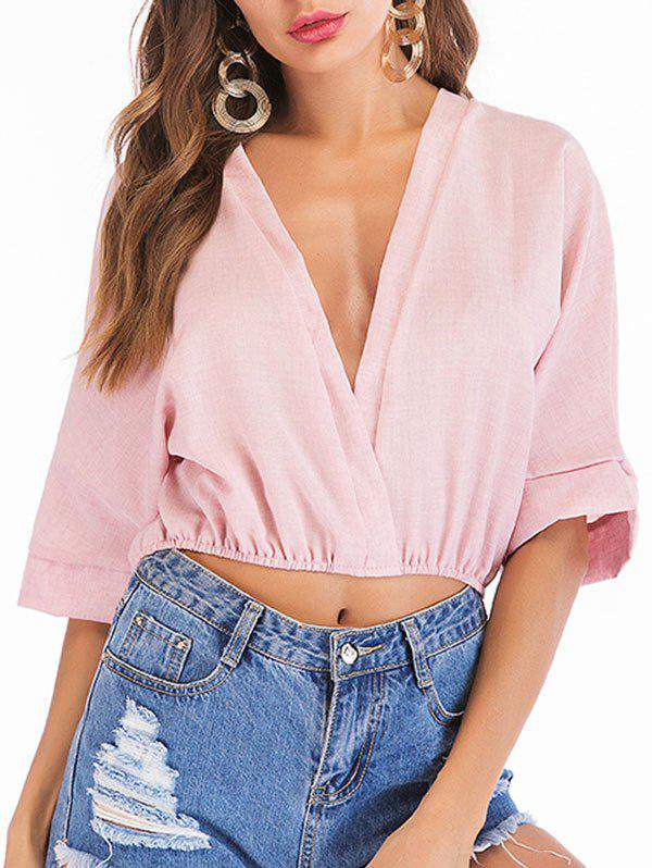 Blouse Simple à Coupe Basse Rose XL