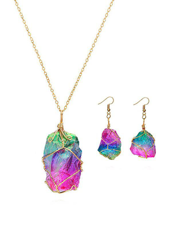 Online Natural Stone Earrings Necklace Set