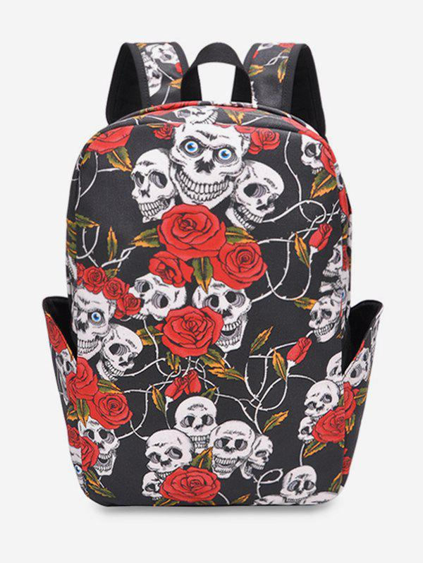 Store Skull Floral Print Canvas Backpack