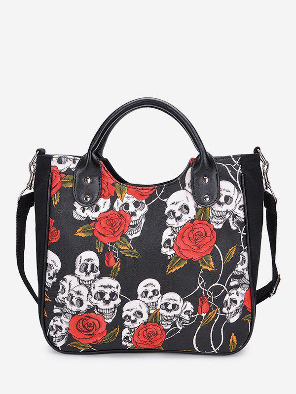Chic Skull Floral Print Canvas Tote Bag