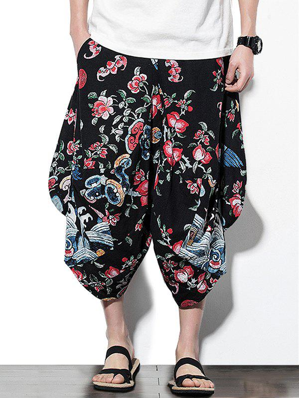 Hot Floral Print Casual Harem Pants